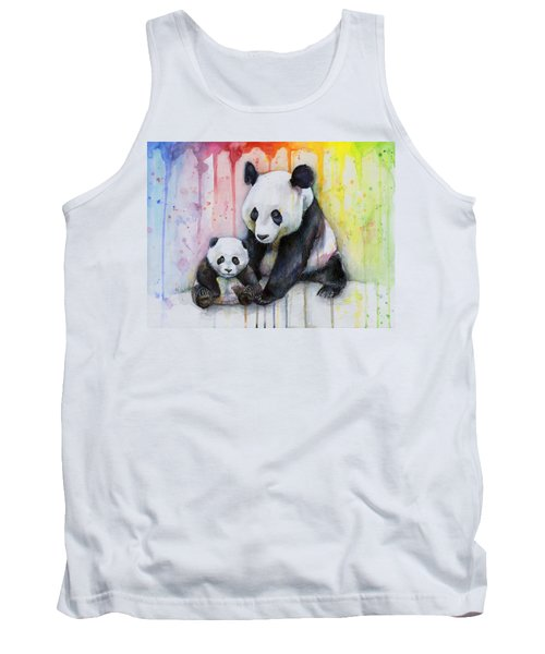 Panda Watercolor Mom And Baby Tank Top by Olga Shvartsur