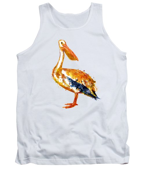 Pelican Watercolor Painting Tank Top by Marian Voicu