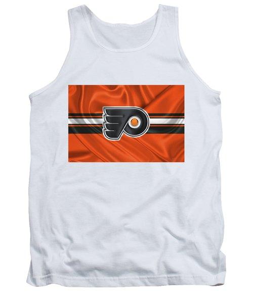 Philadelphia Flyers - 3 D Badge Over Silk Flag Tank Top by Serge Averbukh