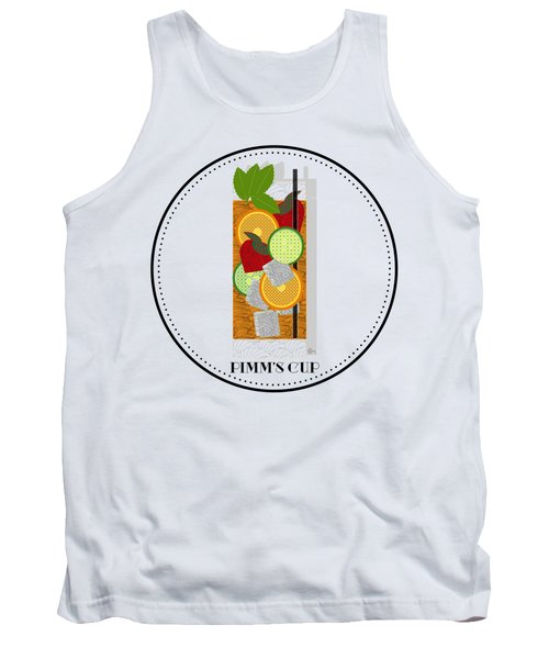 Pimm's Cup Cocktail In Art Deco  Tank Top by Cecely Bloom