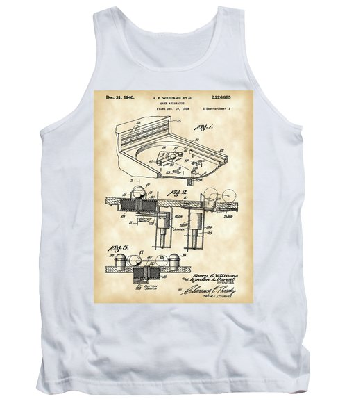 Pinball Machine Patent 1939 - Vintage Tank Top by Stephen Younts