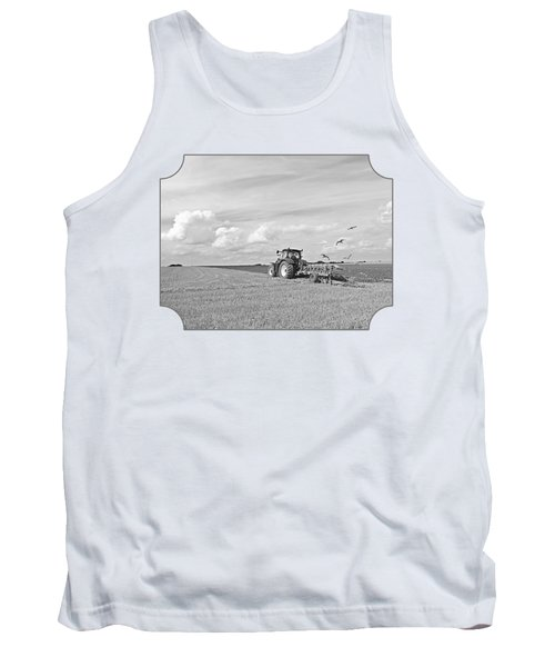 Ploughing After The Harvest In Black And White Tank Top by Gill Billington