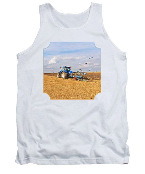 Ploughing After The Harvest - Square Tank Top by Gill Billington