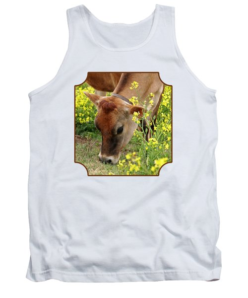 Pretty Jersey Cow - Vertical Tank Top by Gill Billington