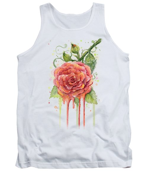 Red Rose Dripping Watercolor  Tank Top by Olga Shvartsur