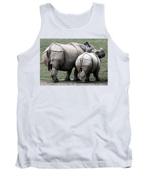 Rhinoceros Mother And Calf In Wild Tank Top by Daniel Hagerman