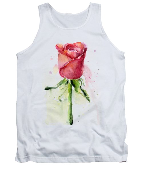 Rose Watercolor Tank Top by Olga Shvartsur