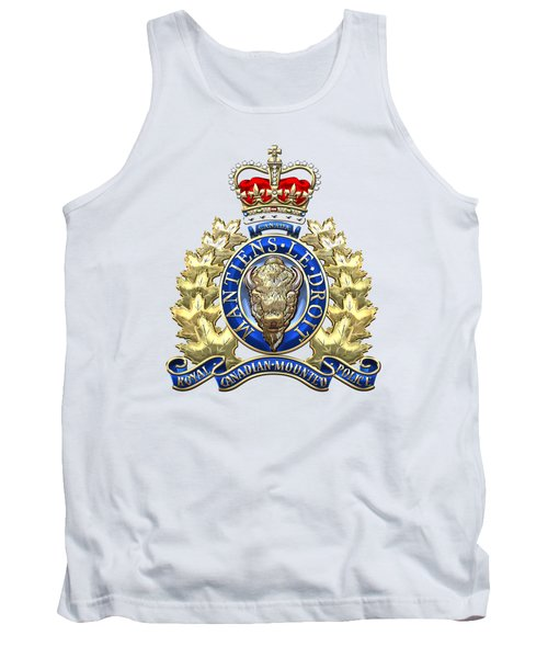 Royal Canadian Mounted Police - Rcmp Badge On White Leather Tank Top by Serge Averbukh