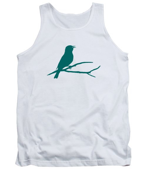 Rustic Green Bird Silhouette Tank Top by Christina Rollo