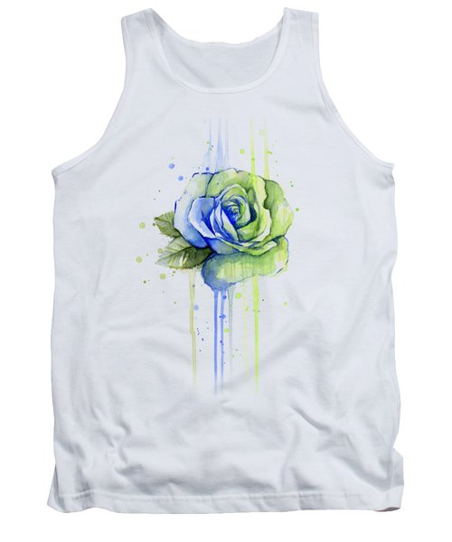 Seattle 12th Man Seahawks Watercolor Rose Tank Top by Olga Shvartsur