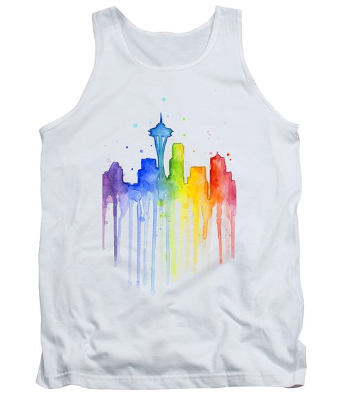 Seattle Rainbow Watercolor Tank Top by Olga Shvartsur