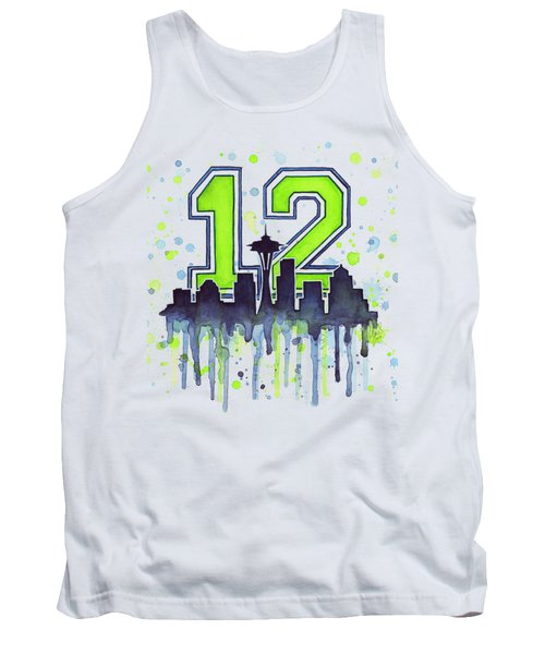 Seattle Seahawks 12th Man Art Tank Top by Olga Shvartsur