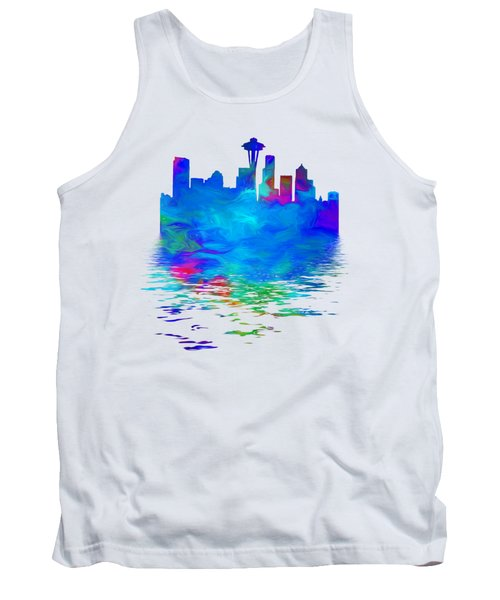 Seattle Skyline, Blue Tones On White Tank Top by Pamela Saville
