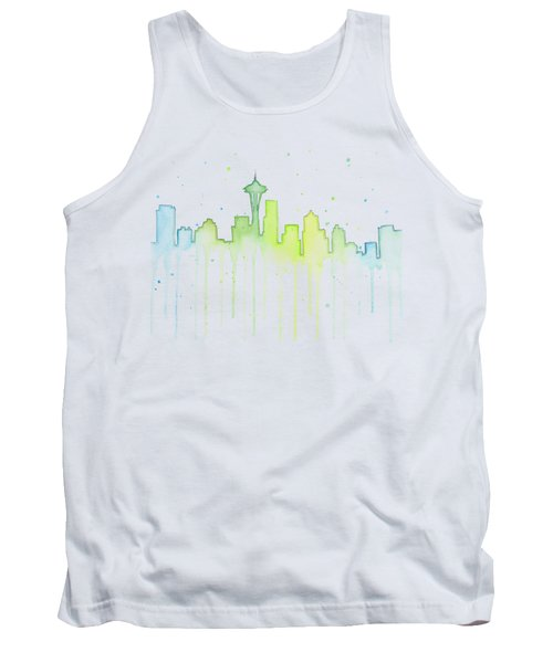 Seattle Skyline Watercolor  Tank Top by Olga Shvartsur