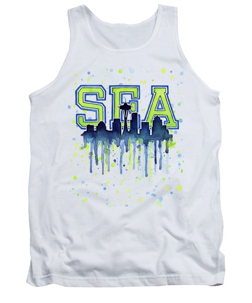 Seattle Watercolor 12th Man Art Painting Space Needle Go Seahawks Tank Top by Olga Shvartsur