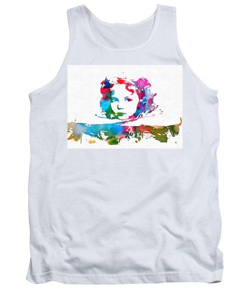 Shirley Temple Watercolor Paint Splatter Tank Top by Dan Sproul