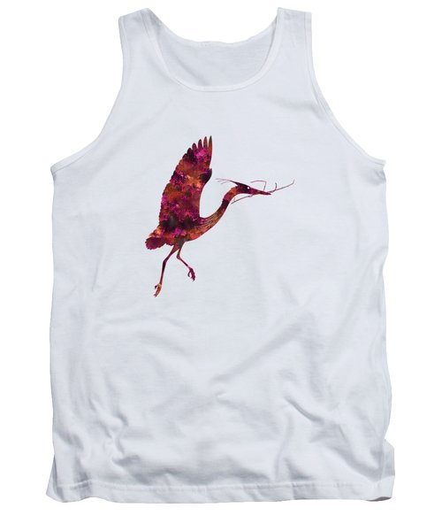 Colorful Great Blue Heron Silhouette Tank Top by Shara Lee