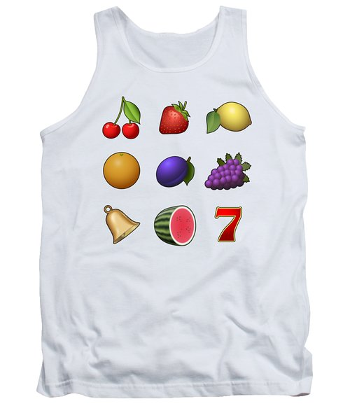 Slot Machine Fruit Symbols Tank Top by Miroslav Nemecek