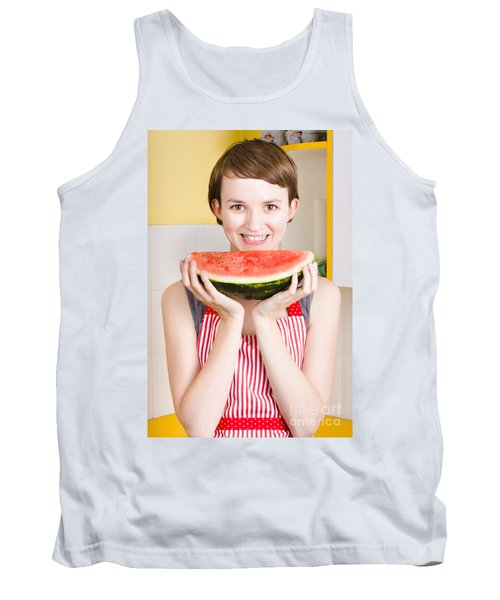 Smiling Young Woman Eating Fresh Fruit Watermelon Tank Top by Jorgo Photography - Wall Art Gallery