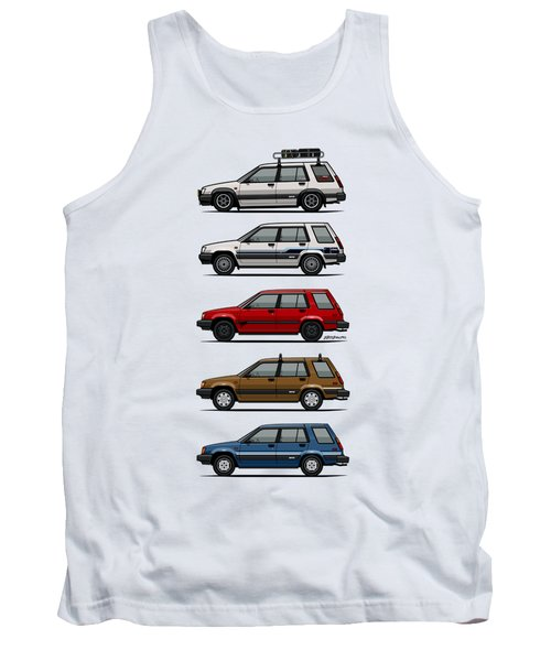 Stack Of Toyota Tercel Sr5 4wd Al25 Wagons Tank Top by Monkey Crisis On Mars