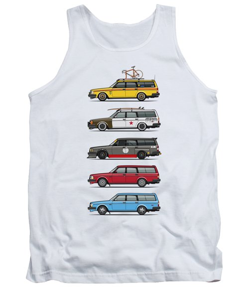 Stack Of Volvo 200 Series 245 Wagons Tank Top by Monkey Crisis On Mars
