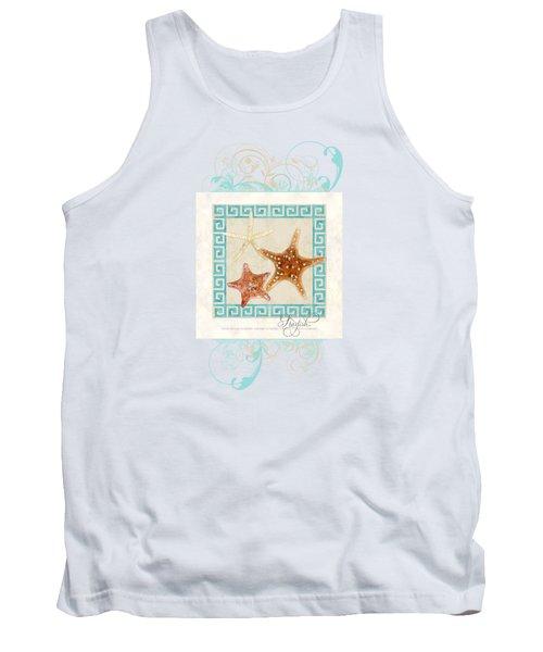 Starfish Greek Key Pattern W Swirls Tank Top by Audrey Jeanne Roberts
