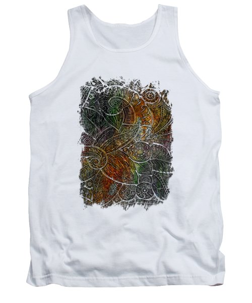 Swan Dance Muted Rainbow 3 Dimensional Tank Top by Di Designs