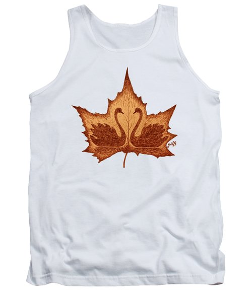 Swans Love On Maple Leaf Original Coffee Painting Tank Top by Georgeta Blanaru
