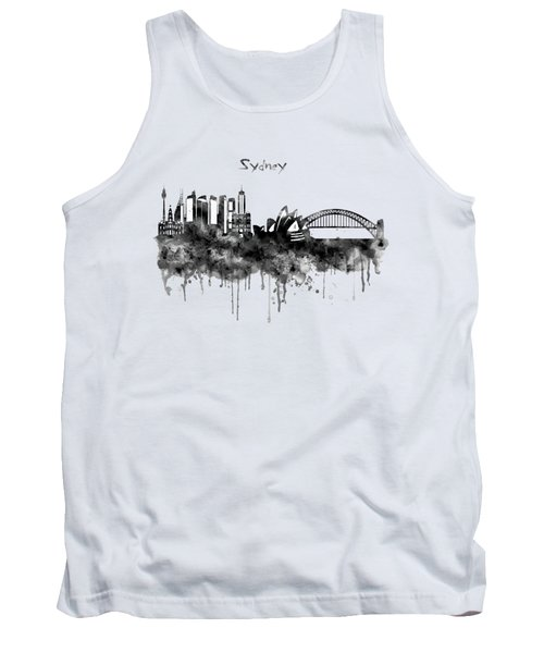 Sydney Black And White Watercolor Skyline Tank Top by Marian Voicu