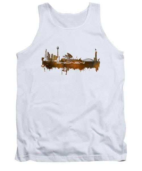 Sydney Skyline City Brown Tank Top by Justyna JBJart