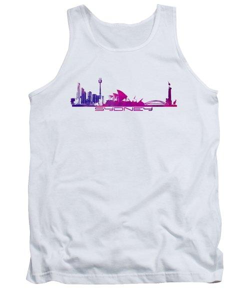 Sydney Skyline Purple Tank Top by Justyna JBJart