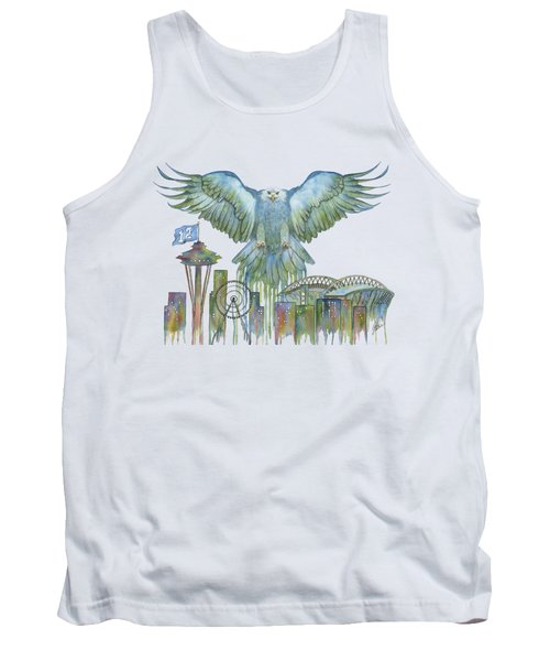 The Blue And Green Overlay Tank Top by Julie Senf