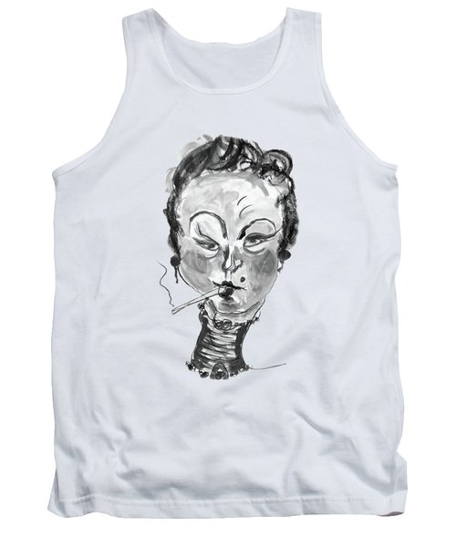 The Smoker - Black And White Tank Top by Marian Voicu