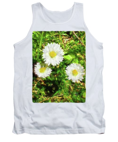 Three Daisies In The Sun Tank Top by Jackie VanO