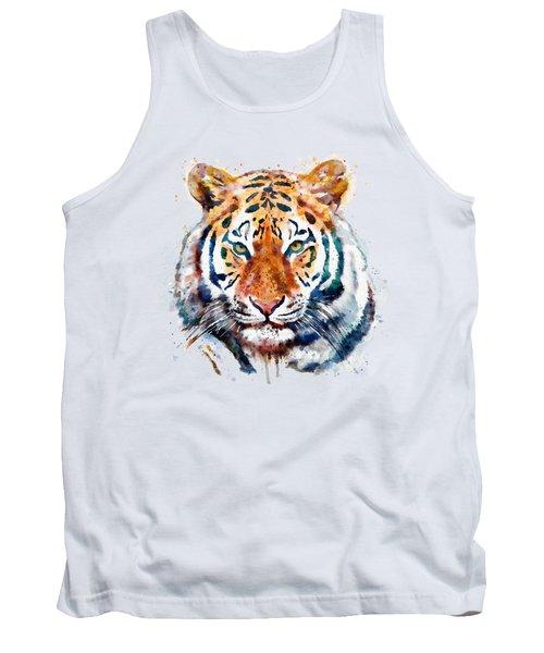 Tiger Head Watercolor Tank Top by Marian Voicu