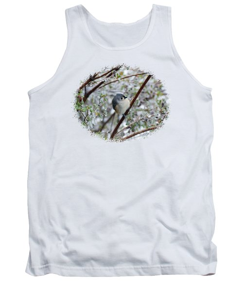 Titmouse On Snowy Branch Tank Top by Larry Bishop