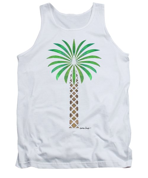 Tribal Canary Date Palm Tank Top by Heather Schaefer