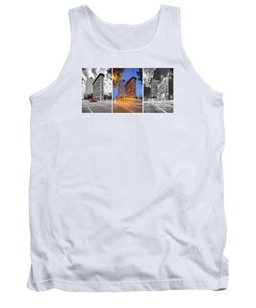 Triptych Of The Flatiron Building In Downtown Fort Worth - Texas  Tank Top by Silvio Ligutti
