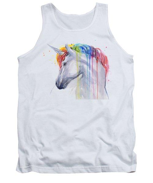 Unicorn Rainbow Watercolor Tank Top by Olga Shvartsur