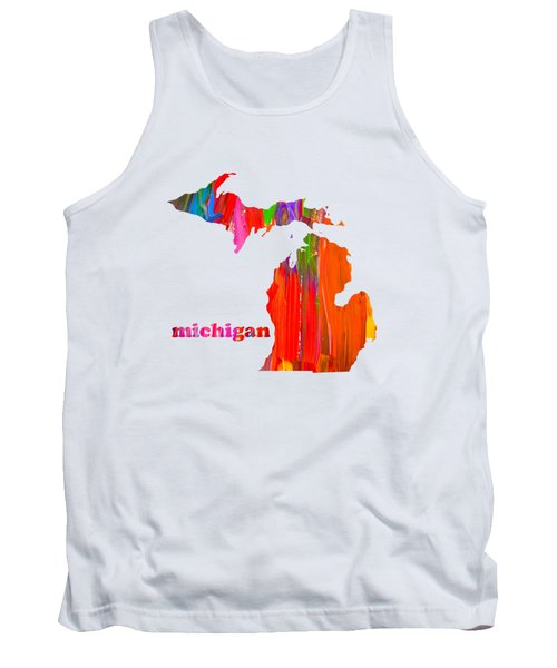 Vibrant Colorful Michigan State Map Painting Tank Top by Design Turnpike