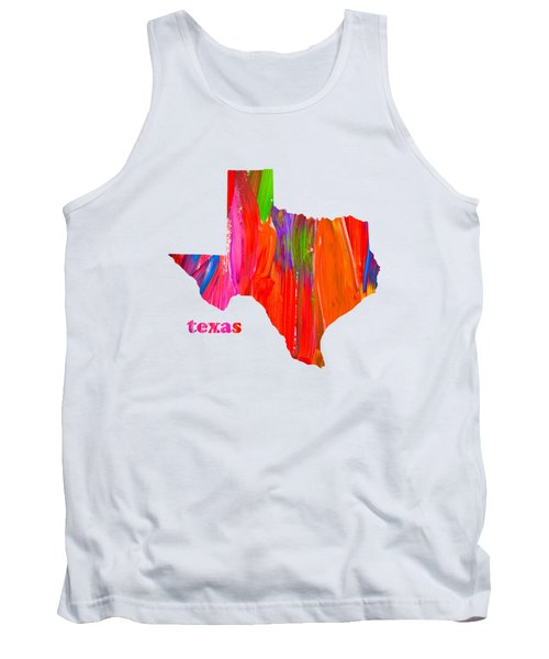 Vibrant Colorful Texas State Map Painting Tank Top by Design Turnpike