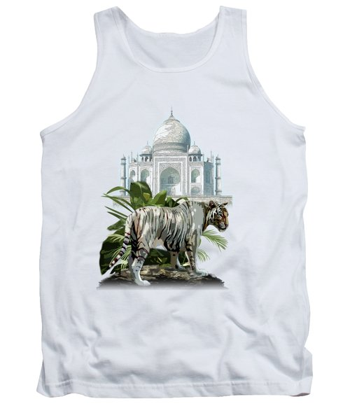 White Tiger And The Taj Mahal Image Of Beauty Tank Top by Regina Femrite