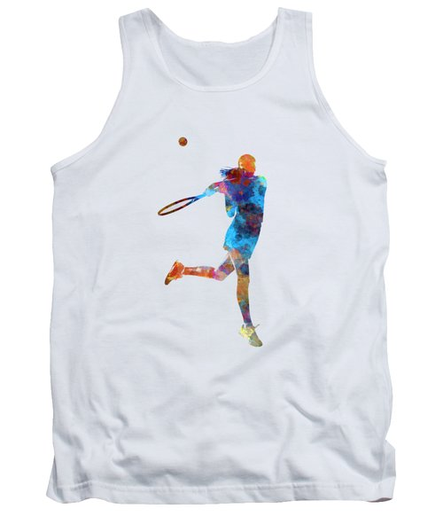 Woman Tennis Player 03 In Watercolor Tank Top by Pablo Romero