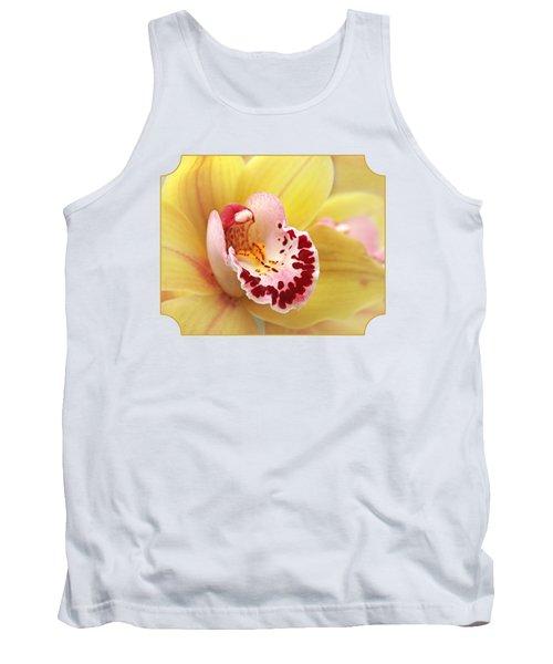 Yellow Cymbidium Orchid Tank Top by Gill Billington