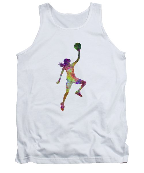 Young Woman Basketball Player 02 In Watercolor Tank Top by Pablo Romero