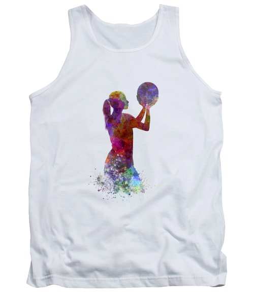 Young Woman Basketball Player 03 In Watercolor Tank Top by Pablo Romero
