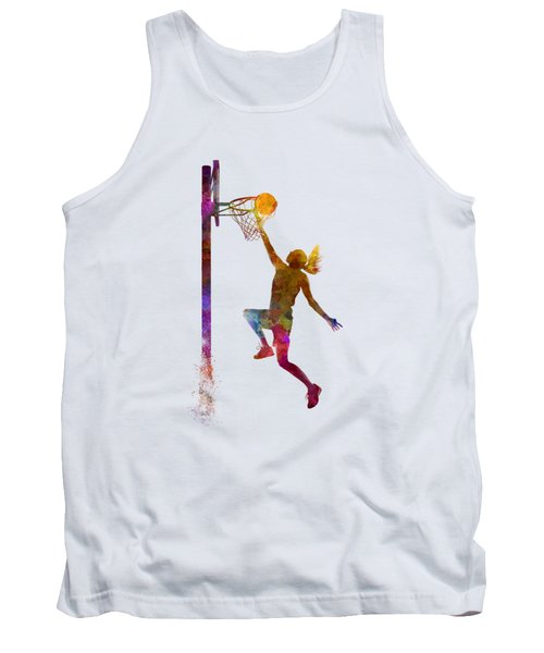 Young Woman Basketball Player 04 In Watercolor Tank Top by Pablo Romero