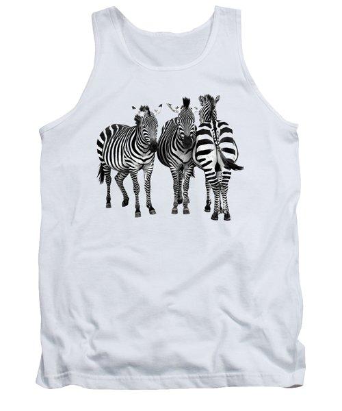 Zebra - Three's A Crowd Tank Top by Gill Billington