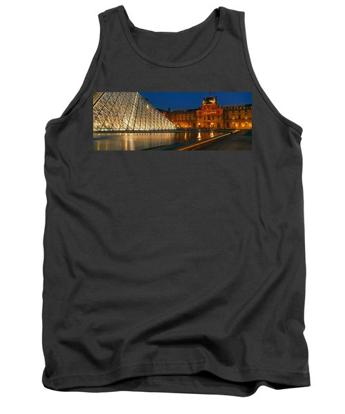 Pyramid At A Museum, Louvre Pyramid Tank Top by Panoramic Images