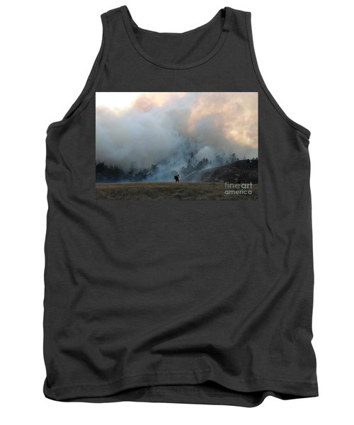 Tank Top featuring the photograph A Solitary Firefighter On The White Draw Fire by Bill Gabbert